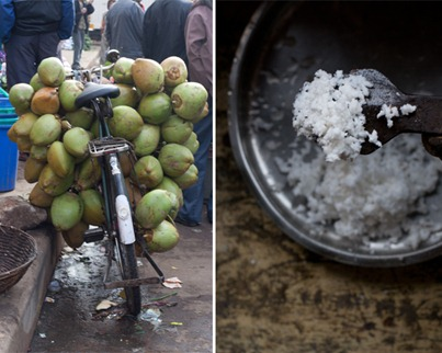 Bicycle with coconut tied on the back and shredded fresh coconut
