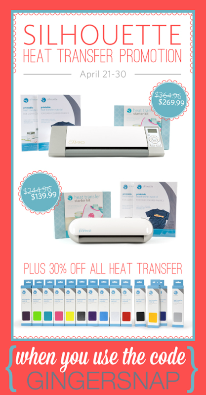 Silhouette Heat Transfer Promotion at SilhouetteAmerica.com use code GINGERSNAP at checkout #SilhouetteCAMEO #SilhouettePortrait #spon
