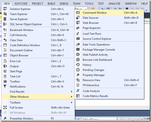 Visual Studio Command Window Menu