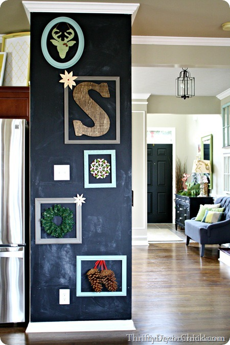 black chalkboard wall with frames
