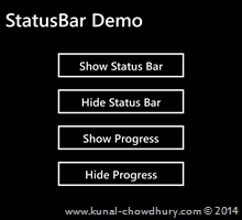 How to hide StatusBar in Windows Phone 8.1? (www.kunal-chowdhury.com)