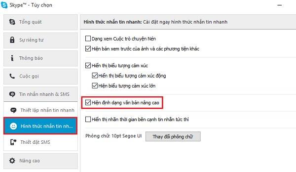 Tùy chọn định dạng Skype