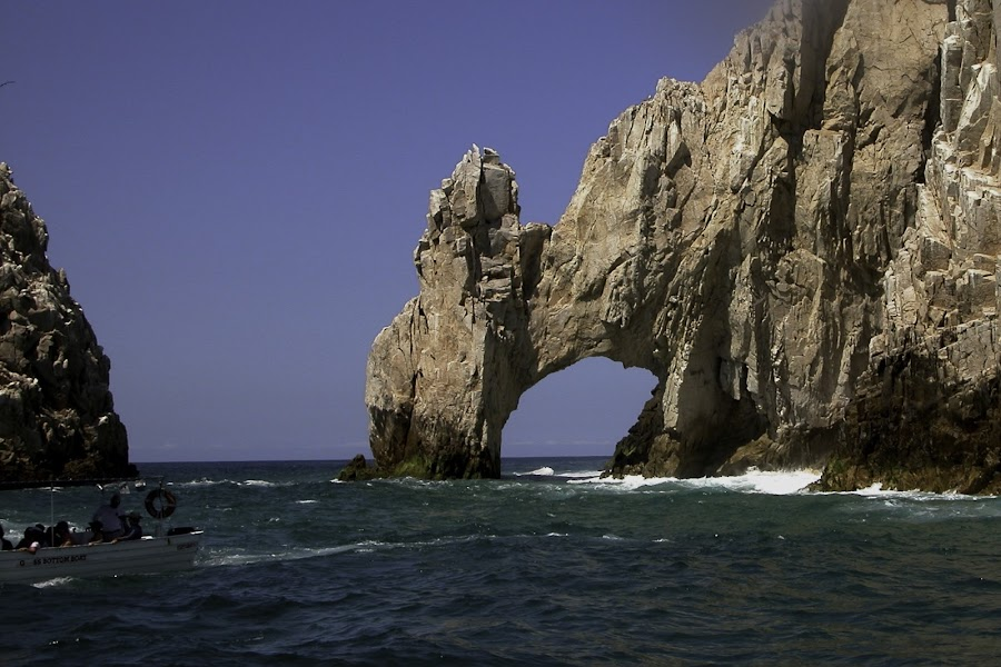 Cabo San Lucas Mexico by Debbie Salvesen - Landscapes Waterscapes ( water, sailing, waterscape, waves, mexico, family, cabo san lucas, rock formation, catamaran, people, , relax, tranquil, relaxing, tranquility )