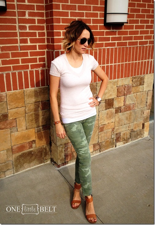 camo pants, aviators, flat sandals and a summer sweater