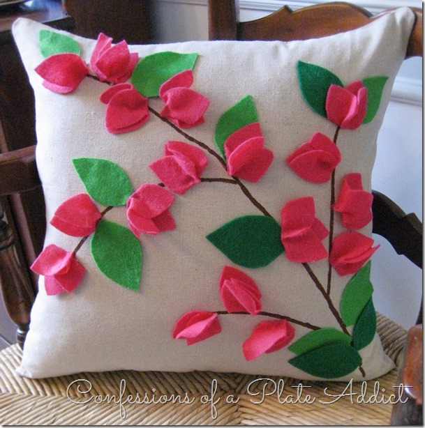 CONFESSIONS OF A PLATE ADDICT'S POTTERY BARN Inspired No-Sew Bougainvillea Pillow