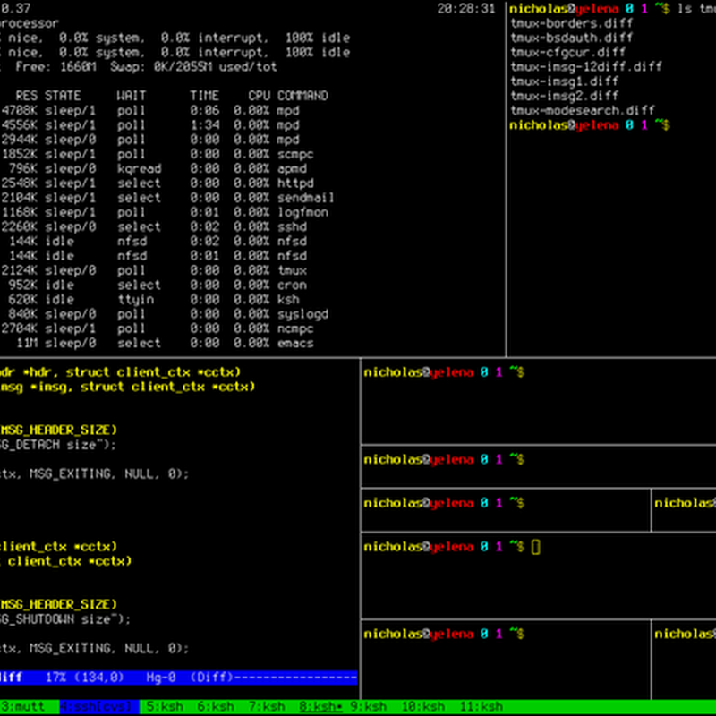 Tmux is a software application that can be used to multiplex several virtual consoles.