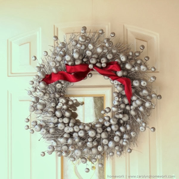 Holiday Wreath from a Fall Wreath via homework | carolynshomework.com