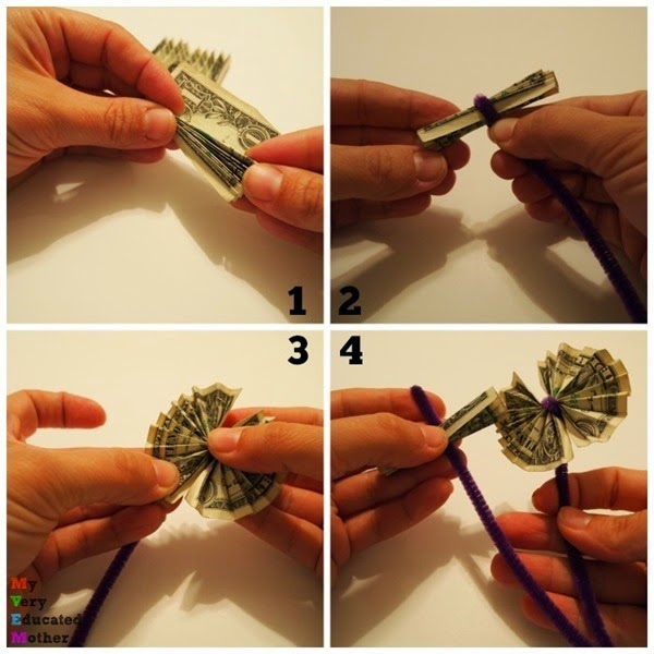Four simple steps for making dollar flowers via @mvemother
