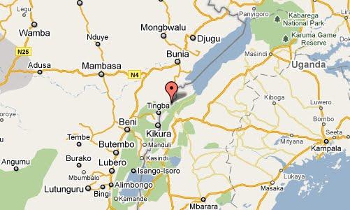 Carte de Aveba à 86 Km au sud de Bunia.