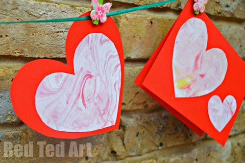 Easy-Valentines-Cards-for-Kids-marbled-paper