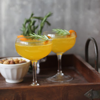 Clementine Rosemary Champagne Cocktail.