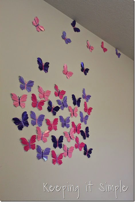 Little girl's room idea glitter paper butterflies (4)