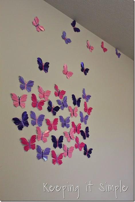 Little girl's room idea glitter paper butterflies (4)