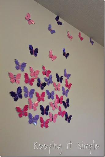 Stunning Little girl us room idea glitter paper butterflies