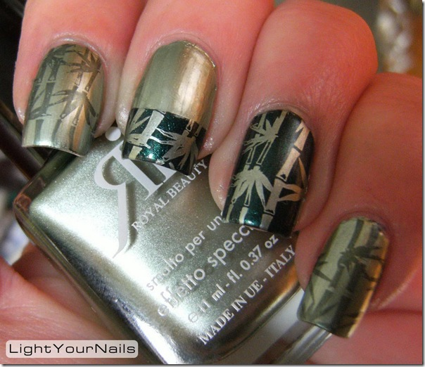 St. Patrick's Day green nail art stamping