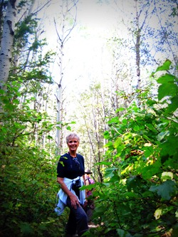 Mom hiking Bowman Fork Trail in Millcreek Canyon Utah