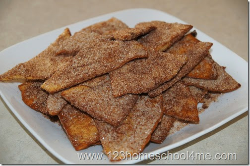 Delicious cinnamon tortilla chips ready to eat