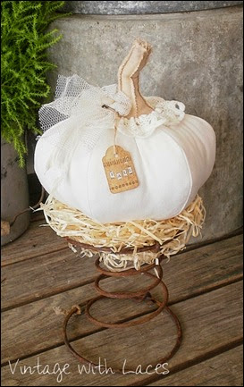 Fabric Pumpkin - Vintage with Laces