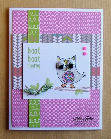 Laughing Lola and Owls CTMH stamp set with googley wiggle painted eyes and lashes