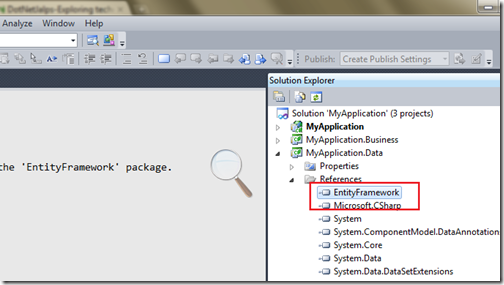 Entity Framework Nuget Package with multiple solution