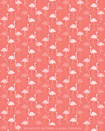 flamingo pattern 30 Days of Patterns Alexa Z Design