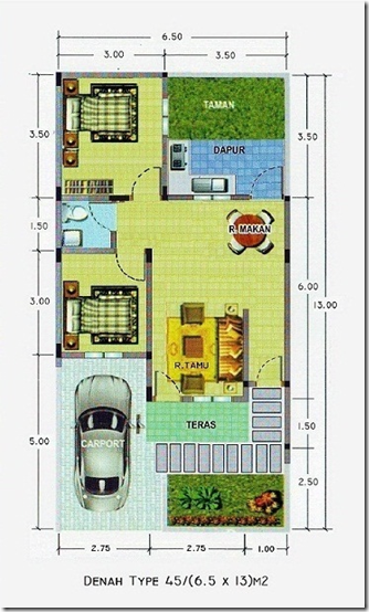 Desain Denah Rumah Tipe 45 6 5 X 13 M2 Desain Rumah