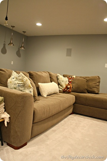 microfiber sectional in basement