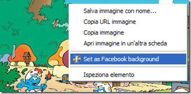 Facebook Background Changer nel menu contestuale del mouse