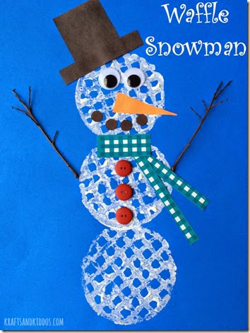 Waffle Snowman Craft for Kids - Your kids are going to flip when they see the super FUN way you make the 'waffle' prints on the snowman!! This is such a super cute winter activity for kids from toddler, preschool, to kindergarten!