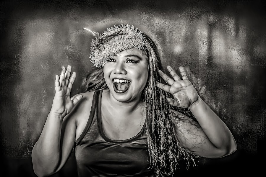 Happy by Nathalie Gemy - Black & White Portraits & People ( black and white, woman, happy, fun, smile )