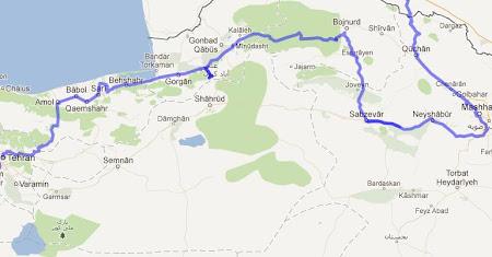 Traseul prin Iran