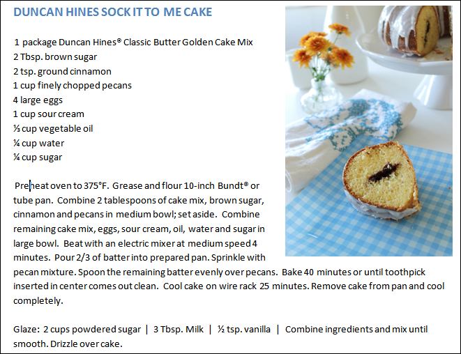Sock it to Me Cake Recipe via homework - carolynshomework