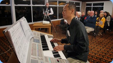 Our very special guest artist was our very own, Takashi (Taka) Iida. Taka brought along his bigger organ, the Yamaha Electone Stagea. A magnificent instrument and played to perfection by Taka who has practised his 12 piece programme for months to ensure a superb performance. Photo courtesy of Dennis Lyons.