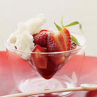 Strawberries with Buttermilk Ice and Balsamic Vinegar