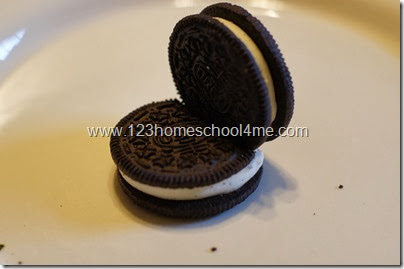 start with 2 oreo type cookies