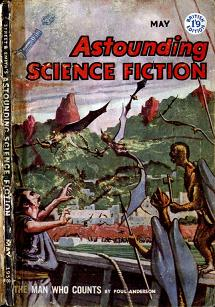 Cover by Van Dongen of the British edition of Astounding Science Fiction magazine, May 1958 issue