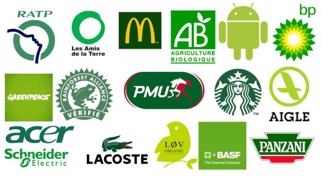 Couleur verte dans un logo ou une marque = développement durable, environnement ou greenwashing...