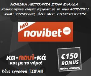 Νοvibet Bonus 150 euro