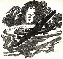 illustration by Orban accompanying the original publication in Astounding of short story The Flight That Failed by E M Hull. Image shows the US military plane mid flight over Atlantic en route to London during World War II a few minutes before German attack. Most action in the story happens in this plane.