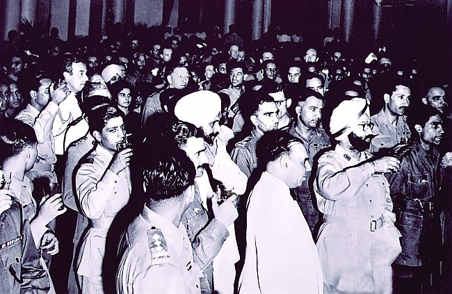 Pakistan-designate & Indian Military Officers gather together for a party on Aughst 6 1947, prior to India's independence & Pakistan's creation