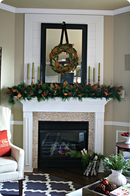 natural magnolia Christmas mantel