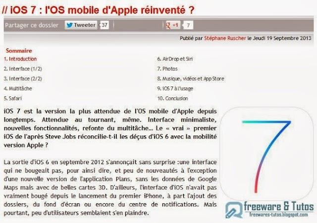 Le site du jour : tout savoir sur iOS 7