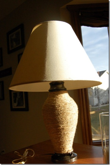 Lamp makeover--Glass/crystal table lamp base wrapped in jute