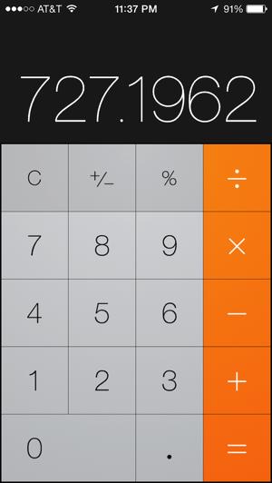 Calculator, vertical orientation