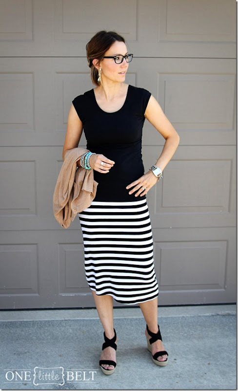black glasses, striped skirt, wedges