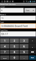 Screenshot of Board Foot Calculator