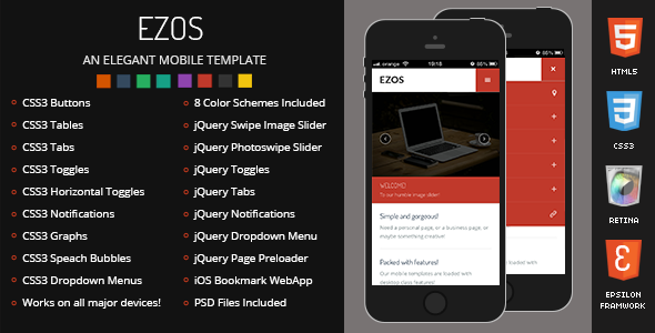 Premium HTML Templates for Mobile Devices: Ezos Mobile