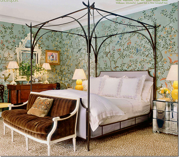 Mile's bedrooms are often covered in handpainted wallpaper and I think his use of these papers – featured in so many magazines – have actually made them ...