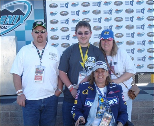 Bill, Bryan, Tina and I in Victory lane after our Hot Laps for the Troops