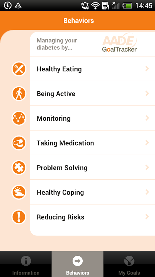AADE Diabetes Goal Tracker - screenshot